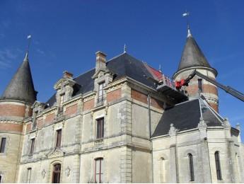 Couverture en ardoise d'un Château à BOMMES (33)